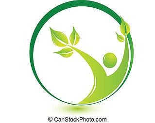 hälsosam, logo, det leafs, man