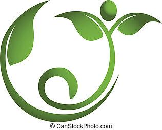 hälsosam, logo, män, blad, fitness