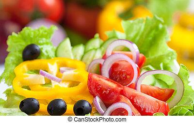 hälsosam, mat, grönsak, sallad, frisk
