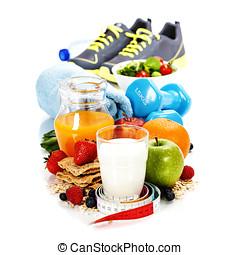 hälsosam, mat, olik,  Sport, redskapen