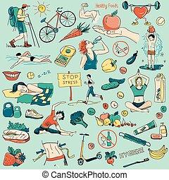 hälsosam, oavgjord, om, livsstil, hand