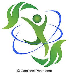 hälsosam, och, naturlig, liv, logo