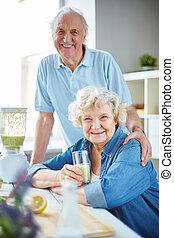 hälsosam, par, äldre