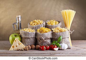 hälsosam, pasta, frisk, kost, ingredienser