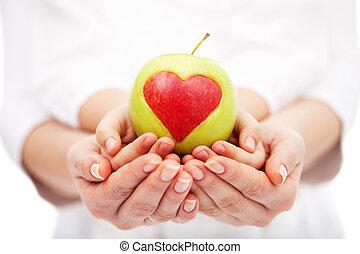 hälsosam, portion, liv, barn, kost