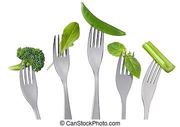 hälsosam, rå, grön, mat, val, vita