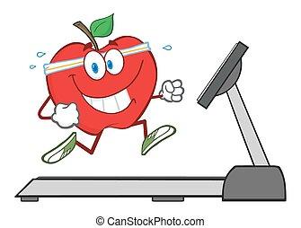 hälsosam, rött äpple, spring