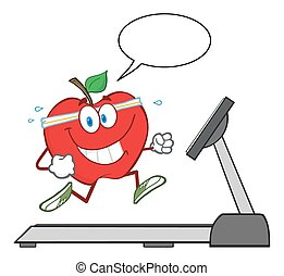 hälsosam, rött äpple, tecken