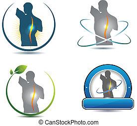 hälsosam, rygg, symbol