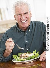 hälsosam, senior, ätande mål, man