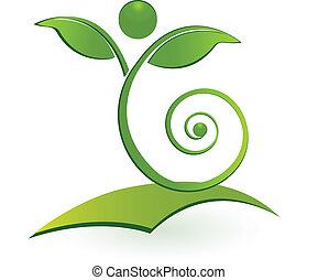 hälsosam, swirly, man, blad, logo