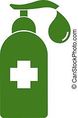 hälsosam, symbol, gel