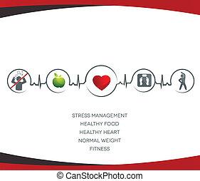 hälsosam, symboler, livsstil