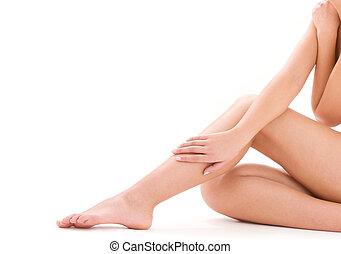 hälsosam, vacker kvinna, ben