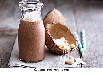 hälsosam, vegan, choklad, kokosnöt, skaka