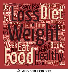 hälsosam, viktförlust, ord, moln, begrepp, text, bakgrund