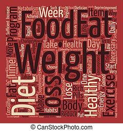 hälsosam, viktförlust, text, bakgrund, ord, moln, begrepp