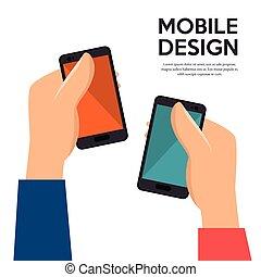 hält, design, mobiles, hände