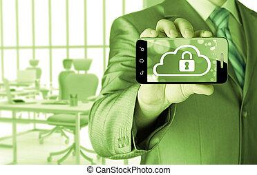 hält, telefon, klug, sicherheit, wolke, mann