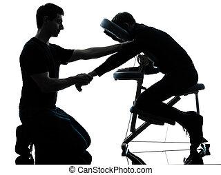 hände, arme, massieren therapie, mit, stuhl