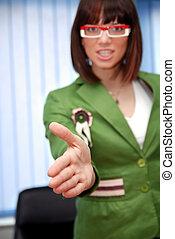 hände, bereit, .businesswoman, schütteln