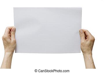 hände, besitz, a, weißes blatt, von, papier