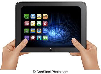 hände, besitz, digital tablette, edv, mit, icons., vektor,...