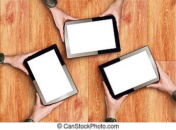 hände, besitz, drei, digital tablette, computer