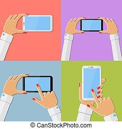 hände, besitz, smartphone, frau
