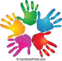 hände, druck, in, lebhaft, farben, logo