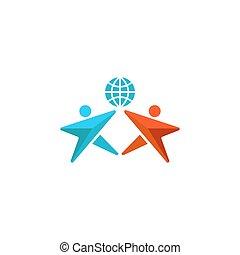 hände, emblem, erdball, abstrakt, leute, auf, gemeinschaft, zwei, mann, zusammen, logo, symbol, freundschaft, sozial