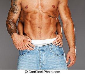 hände, frau, muskulös, textilfreie , umarmen, oberkörper,...