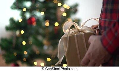 hände, geben, und, annahme, weihnachtsgeschenk, kasten