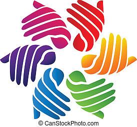 hände, gefärbt, logo, vektor