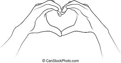 hände gefaltet, zusammen, in, der, form, von, a, heart.