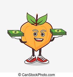 hände, geld, zeichen, eggfruit, maskottchen, karikatur