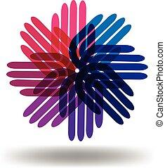 hände, gemeinschaftsarbeit, logo