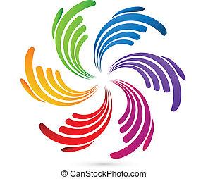 hände, geschaeftswelt, sozial, vernetzung, logo