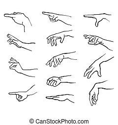 Hände Gesten mit Arm