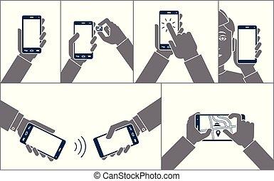 hände, haltend zelle, beweglich, druck, touchscreen, smartphones., abbildung, mann, vektor, gebrauchend, telefon., wohnung