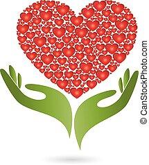 Hände, Herz aus Herzen