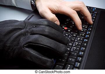hände, laptop-computer, diebstahl, tastatur