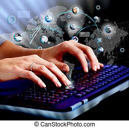 hände, mit, a, edv, keyboard.