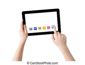 hände, mit, tablette pc, und, apps