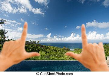 hände, rahmen, atemberaubend, hawaiianer, meerblick, deck,...