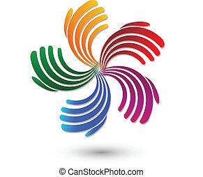 hände, regenbogen, farbe, logo