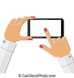 hände, smartphone, besitz, frau