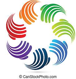 hände, sozial, portion, logo, ikone