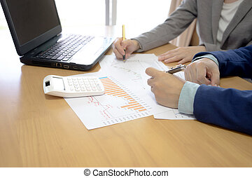 hände, von, geschäftsmenschen, arbeitende , mit, finanziell, dokumente