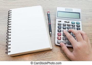 hände, von, unternehmerin, arbeitende , mit, calculator.
